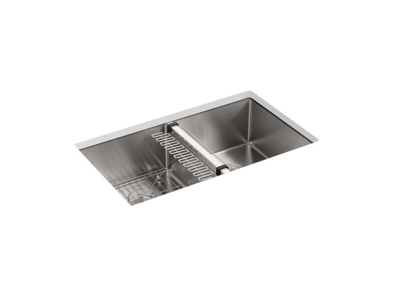 Kohler K 5281 Na Stainless Steel Strive 32x181 4x95 16 0 Hole Double Undermount Equal Sink With Rack At Hajoca Corona